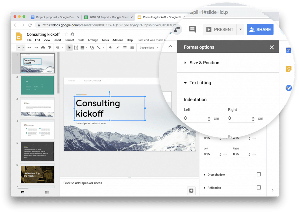 Material Design version 1 de Google Slides